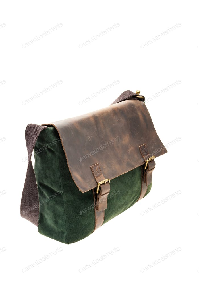 Green and brown satchel bag isolated on white background.