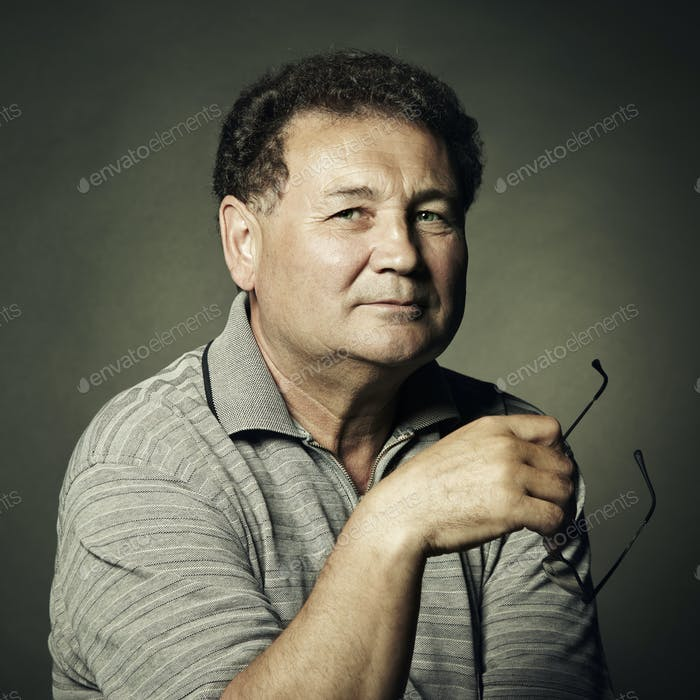 Portrait of aged man close up