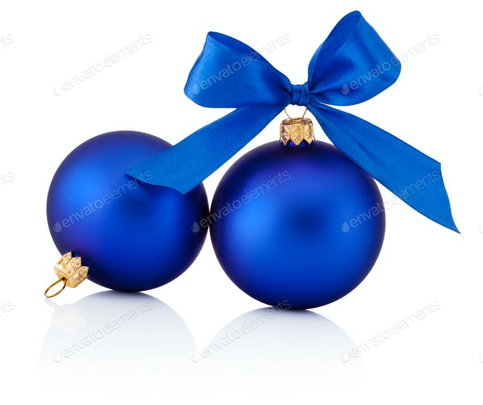 two blue christmas balls with ribbon bow isolated on white backg - Blue Christmas Balls