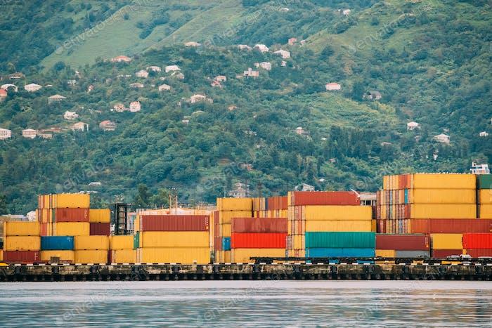 Batumi, Adjara, Georgia. Container Terminal In Port Dock
