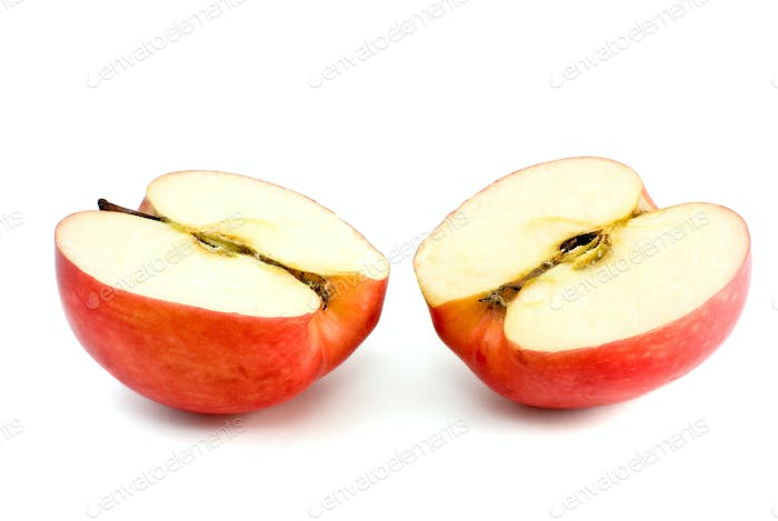 Two red apple halves