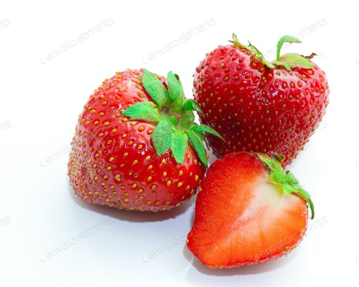 Red berry strawberry isolated on white background.