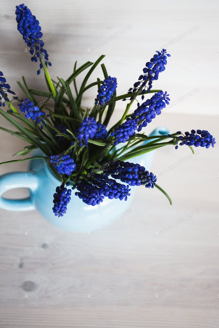 Blue flowers in a vase. Vintage