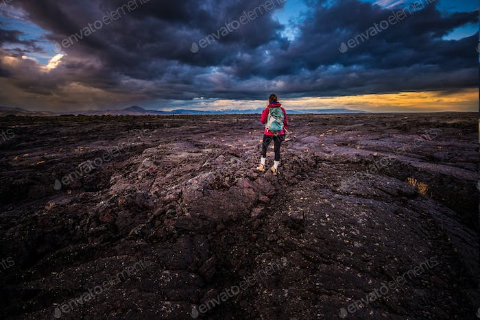 Hiker in Crater of the Moon National Monument
