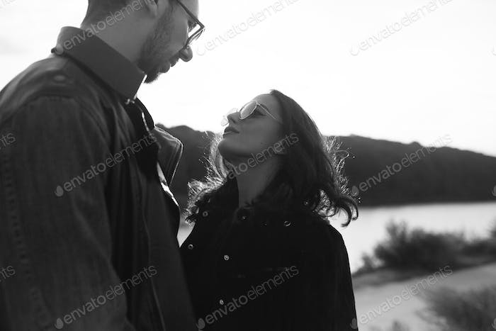 beautiful young couple looking at each other
