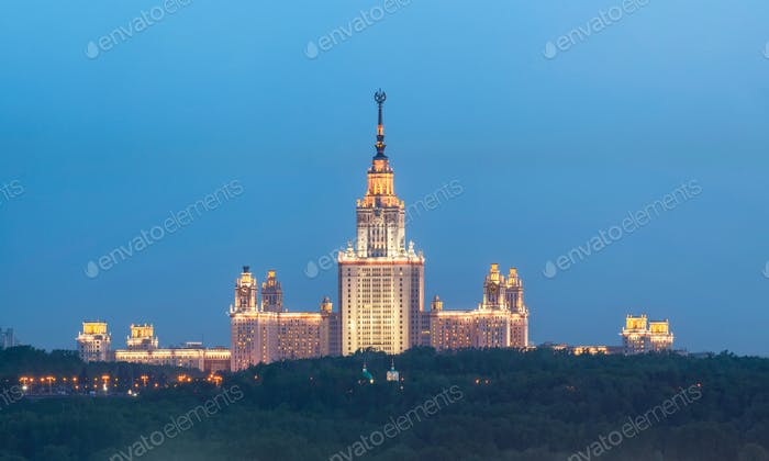 View of the Moscow state Institute, in the evening
