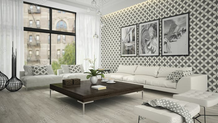 Interior of living room with stylish wallpaper 3D rendering 2