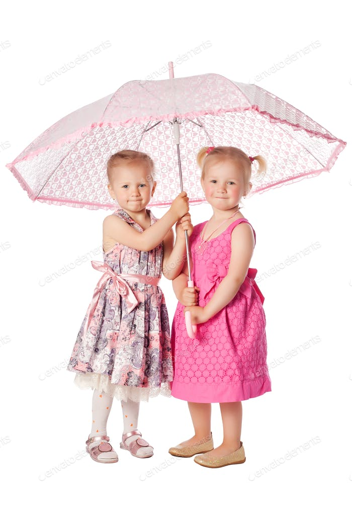 two funny girs with umbrella