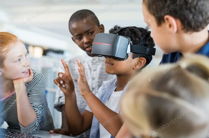 Boy using virtual goggles