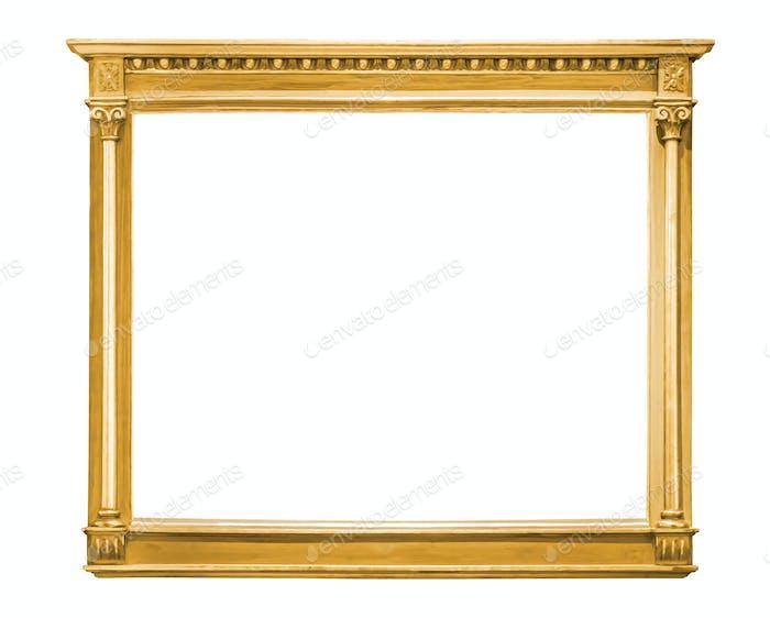 Marco Decorativas dorado aislado sobre blanco