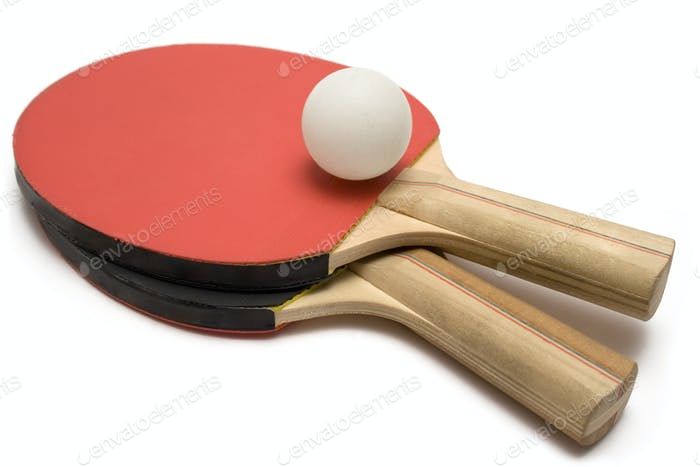 Ping Pong Paddles with Ball Isolated on a White Background