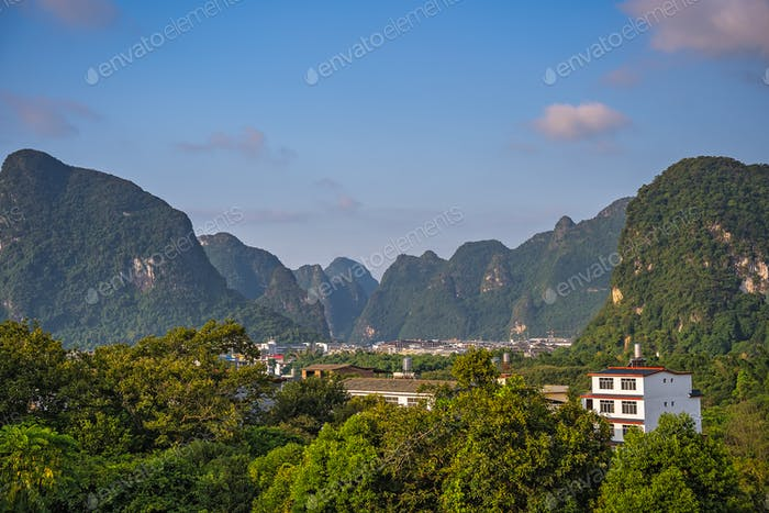 Green lush karst Yangshuo landscape in China