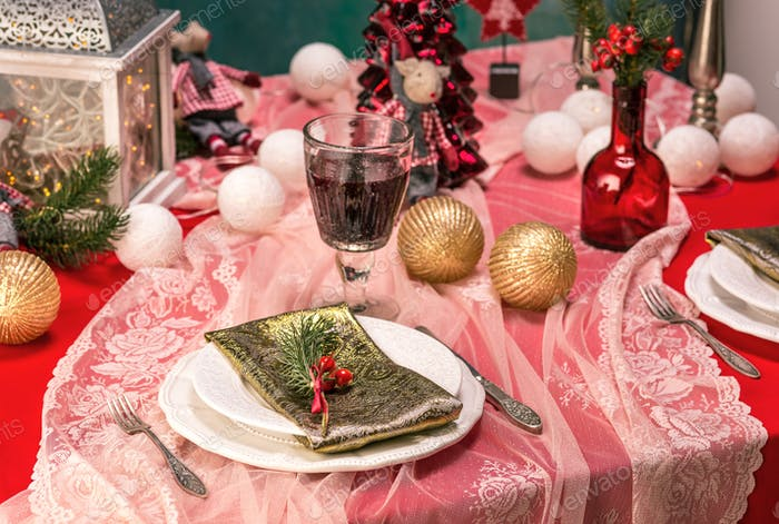 Thumbnail for Beautiful Christmas table setting with decorations