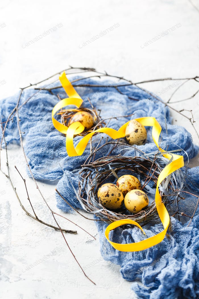 Easter Eggs in bird Nest. Quail easter eggs in nest on white table with copy space.