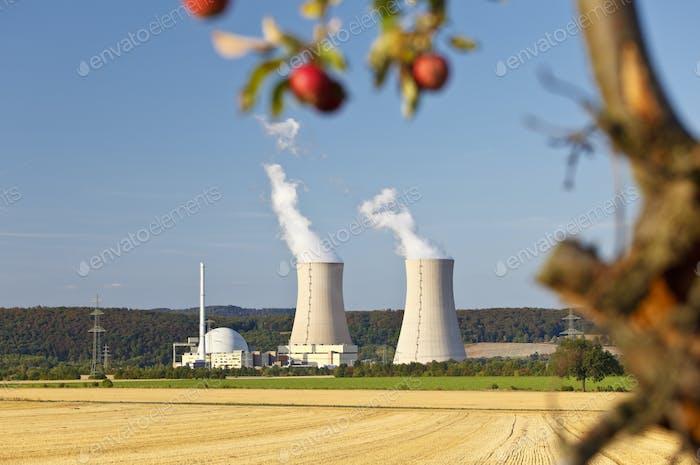 Kernkraftwerk und Apfelbaum