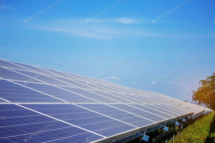 Solar panel on grassland