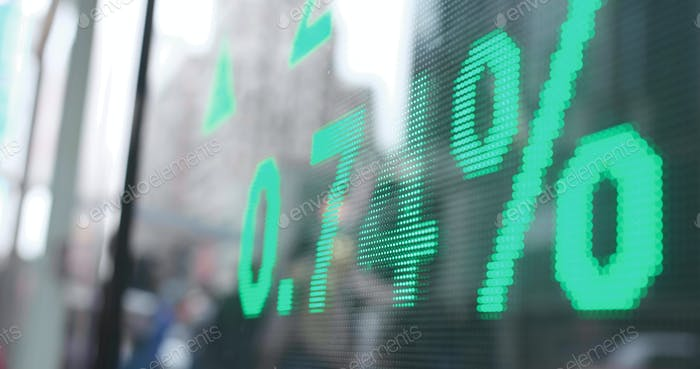 Stock market screen showing prices in city