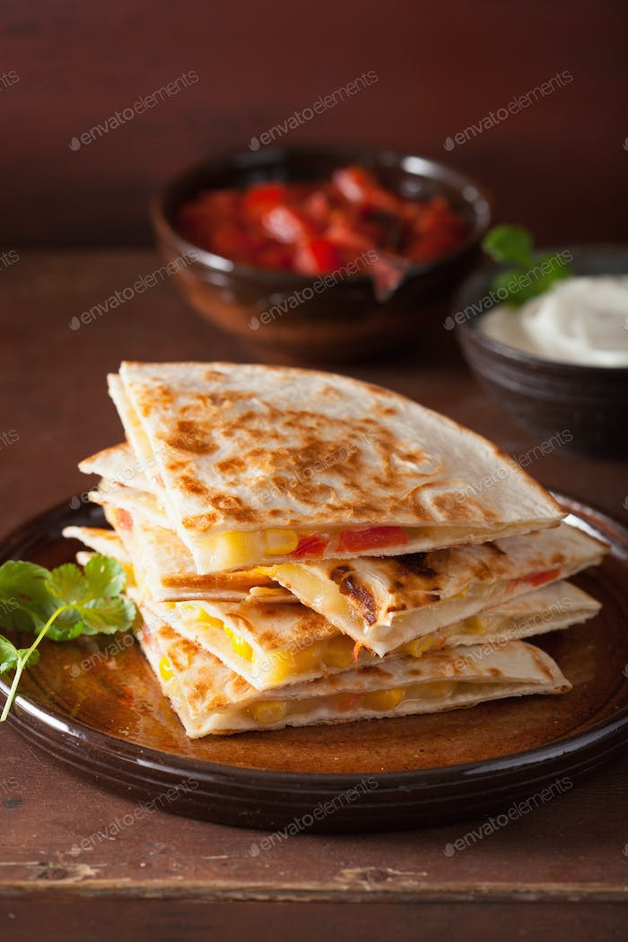 mexican quesadilla with tomato corn cheese