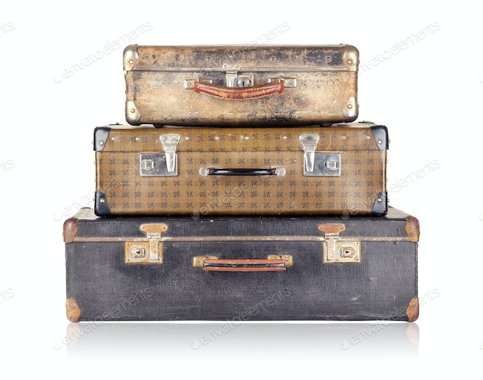 Stack of three old suitcases