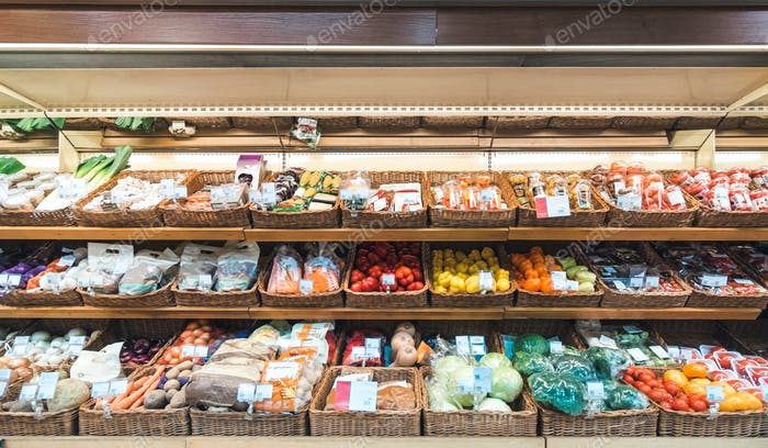 Fresh vegetables on shelf in supermarket
