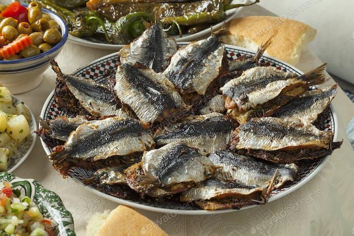 Traditional Moroccan stuffed sardines