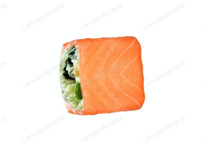 Japanese sushi rolls isolated on white background