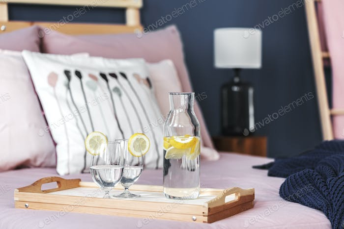 Lemon water on tray