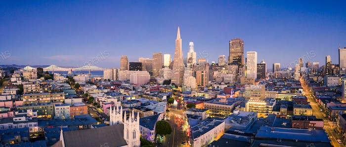San Francisco Skyline at Dusk with City Lights, California, USA
