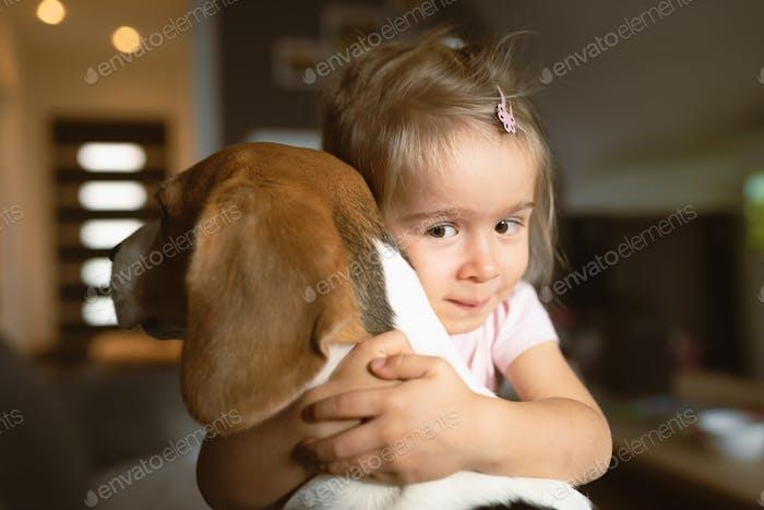 Child cuddling hard a beagle dog in living room