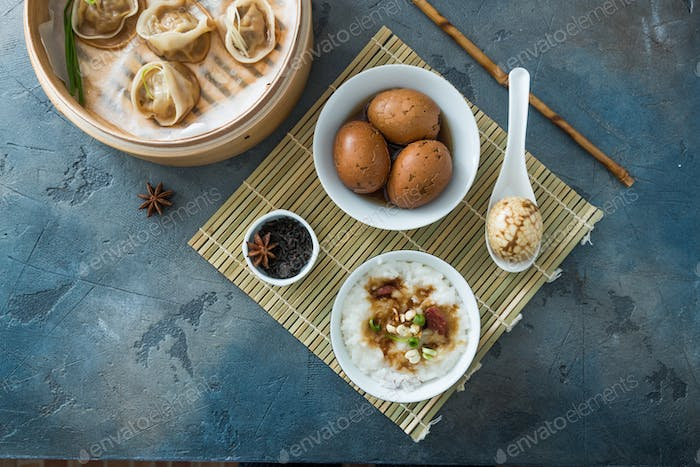 Chinese Streamed Dumpling with tea eggs and porrige