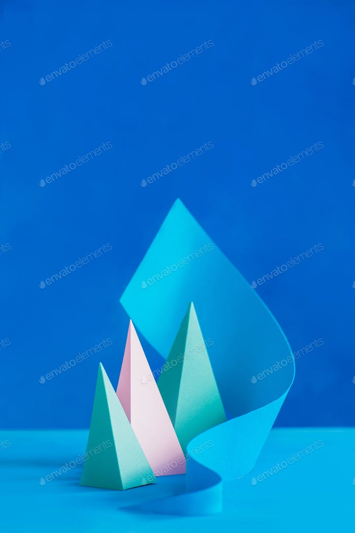 Origami papercraft sculpture in pastel tones. Vibrant design template with modern shapes and copy