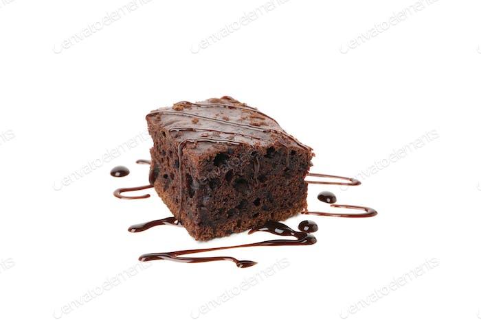 Delicious chocolate cake slice isolated on white background