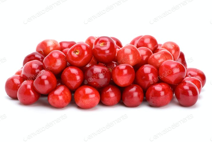 Pile of ripe red cherries