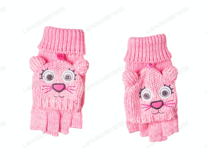Knitted children's gloves face of cat.