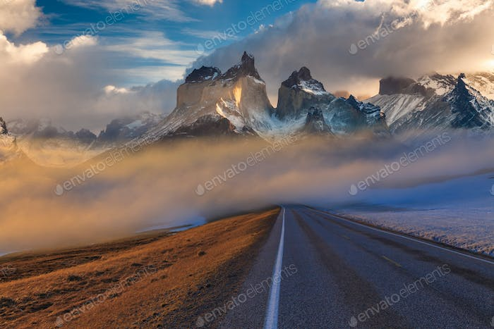 Majestic mountain landscape. National Park Torres del Paine, Chile.