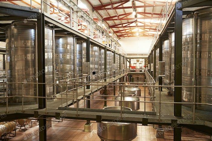 Modern winemaking facility interior, angled view