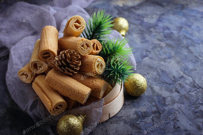 Christmas cookies on concrete background