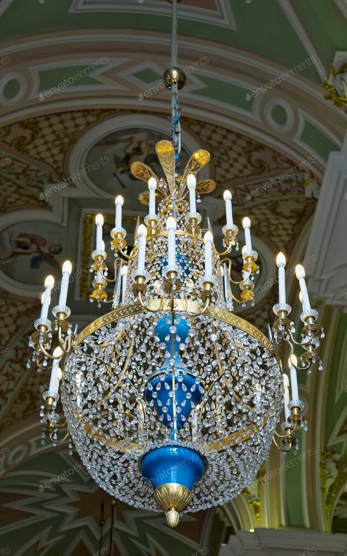 Crystal chandelier in the temple.