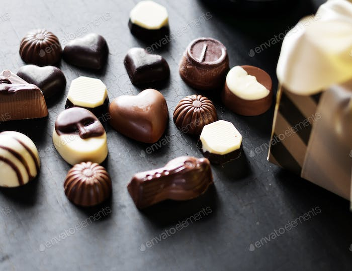 Closeup of variety chocolates collection