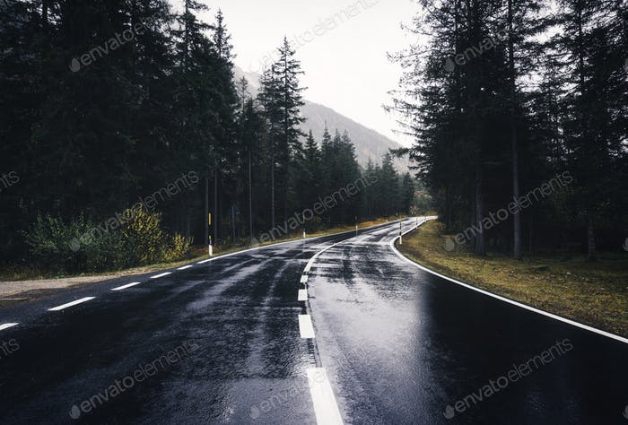 Asphalt mountain road in overcast rainy day in spring