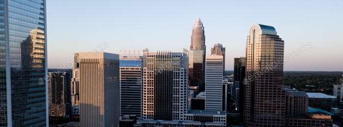 Aerial View of Select Buildings Downtown City Skyline of Charlotte