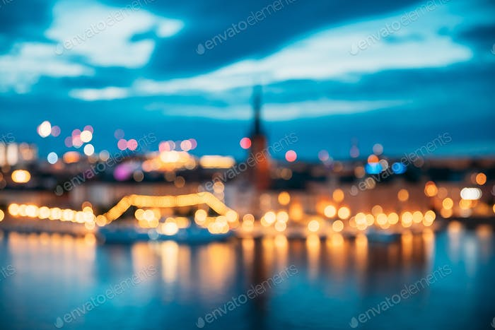 Stockholm, Sweden. Night Skyline Abstract Boke Bokeh Background. Design Backdrop. Panorama Panoramic