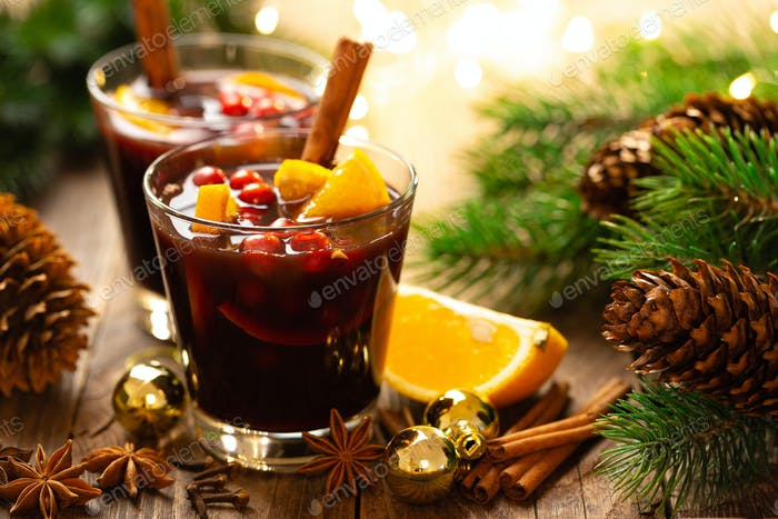 Christmas, New Year or Noel holiday mulled wine