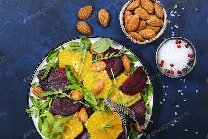 Fresh Beetroot Salad with Orange, arugula and almonds