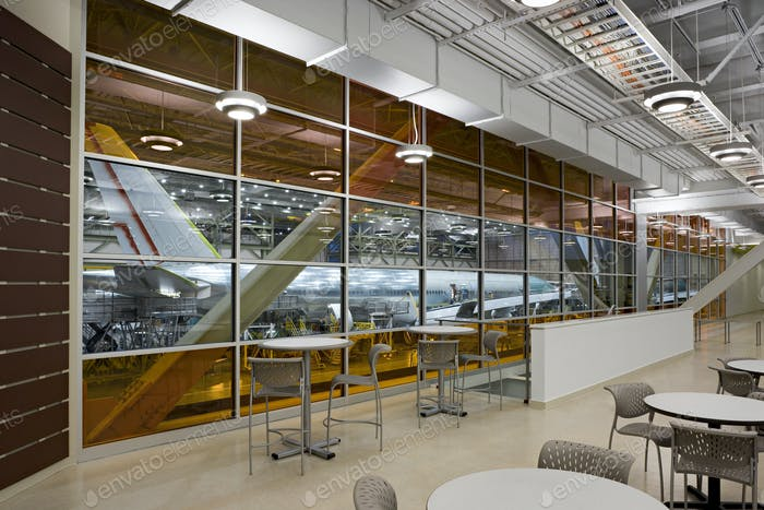 53739,Empty lounge area of airplane hangar