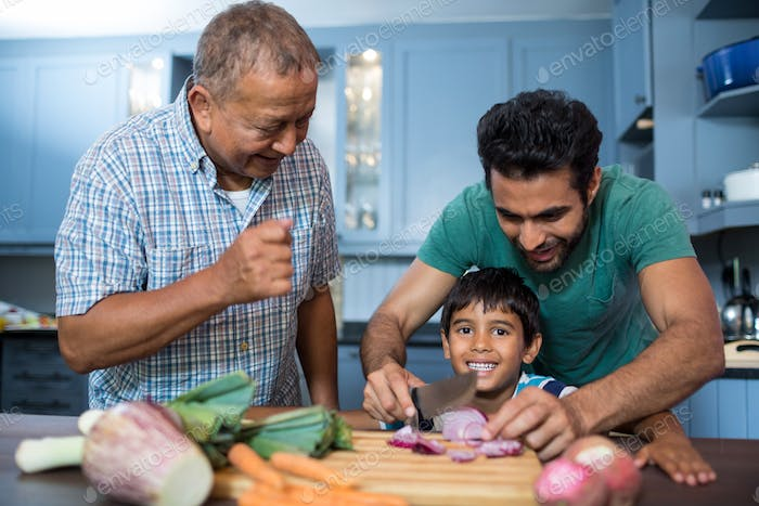 Man looking at boy cutting onion with father