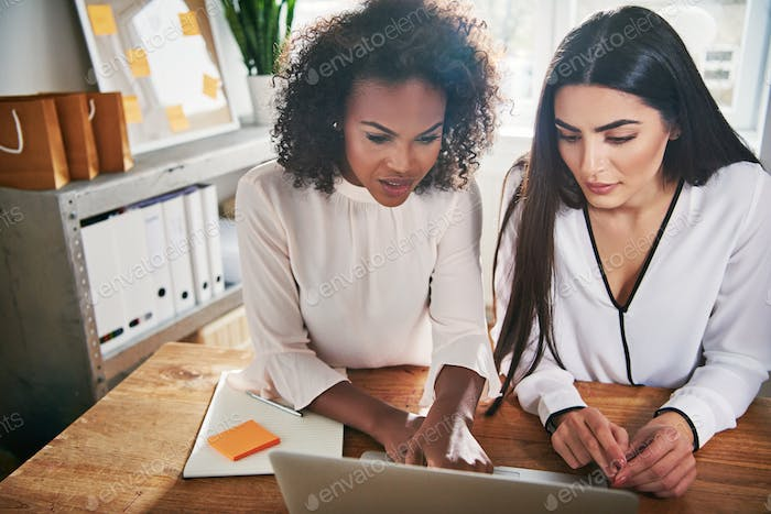 Two hardworking young female entrepreneurs