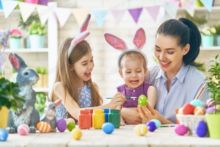 Family preparing for Easter