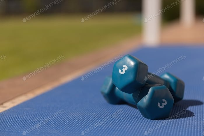 Close-up of blue dumbbells kept on a blue exercise mat