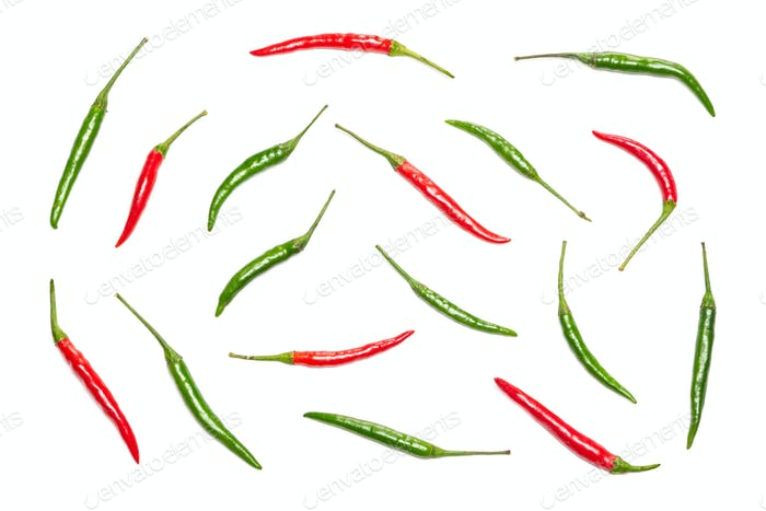 Food flatlay pattern of chili peppers on white background